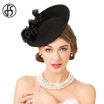 FS Black 100% Wool Hats For Women Elegant Vintage Wedding Pillbox Hat Ladies Formal Floral England Style Party Church Fedora