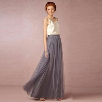 Tulle Maxi Skirts Custom Made Satin Waist A Line Floor Length Modest Long Skirt