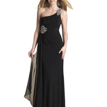 Dave & Johnny Women's Draped Jersey Chiffon Long Dress Sz 0