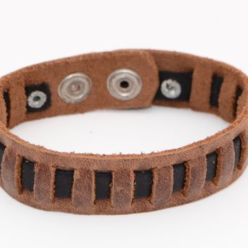 Men's Small Leather Woven Bracelets Brown