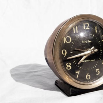 Vintage Tabletop Alarm Clock, Wind Up Baby Ben Westclox; Mid-Century Home or Office Decor