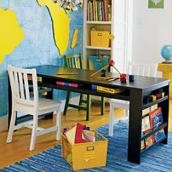 Kids' Play Table: Kids Espresso Play Table with Side Bin in Play Tables | The Land of Nod
