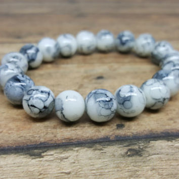Stretch Bracelet, Beaded Stretch Bracelet, Glass Bead Bracelet, Gift for her, Gift for Teen, Kawaii Bracelet, Gray Bracelet, Glass Bracelet