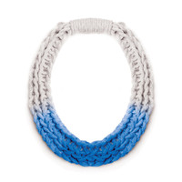 Purls hand woven yarn necklace - Sapphire Blue | Saloukee