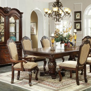 7 pc Chateau De Ville II collection espresso finish wood and patterned fabric padded seats double pedestal dining table set