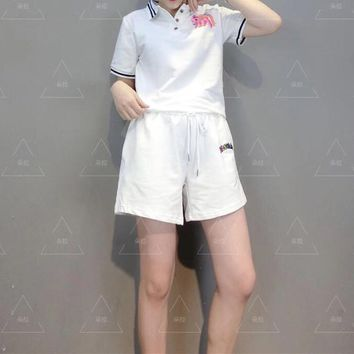 Short Sleeve  Women Fashion Casual  Pattern  Round Neck  Edgy Two-Piece Suit Clothes