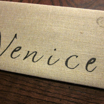 Venice Cotton Canvas Envelope Clutch Bag   City Bag Purse