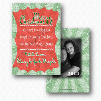 Glitter Christmas card with photo .  Red and Green Fun Christmas Card w/ Photo.  Christmas card with Picture. Modern Christmas Card
