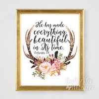 Christian wall art, Scripture printable bible verse, Bible verse print, He has made everything beautiful in its time, Ecclesiastes 3:11