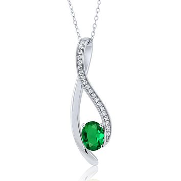 925 Silver Green Emerald Necklace