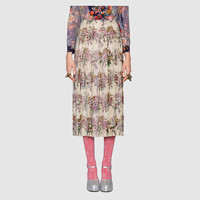 Gucci Floral bouquet print with crystals skirt