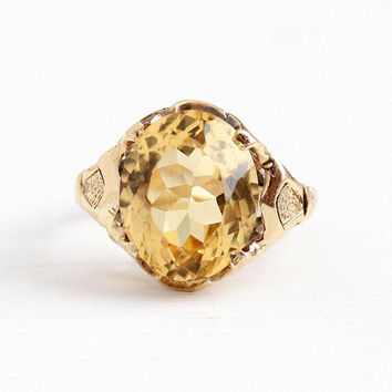 Vintage 10k Rosy Yellow Gold Genuine 4.94 Carat Citrine Ring - Retro 1940s Size 4 1/4 Yellow Oval Gemstone November Birthstone Fine Jewelry