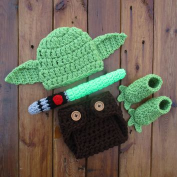 Yoda Star Wars Crochet Costume Green Brown Newborn Baby Photo Prop