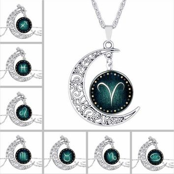 Zodiac pendant necklace glass cabochon silver necklace art picture statement necklace Constellation fashion for women  XL-954