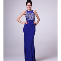 Royal Blue Empire Waist Open Back Gown 2015 Prom Dresses