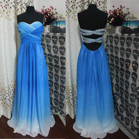 Custom Made Blue Ombre Chiffon Sweetheart Prom Open Back Sexy Prom Dress,Evening Dress Bridesmaid Dress