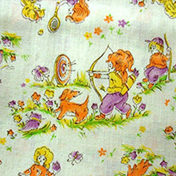 1970s Kids Fabric Juvenile Novelty Fabric w/children playing Archery Baseball, Bowling