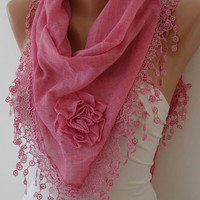 Autumn Scarf - Pink Scarf with Roses - Cotton Scarf with Trim Edge - Big Triangular