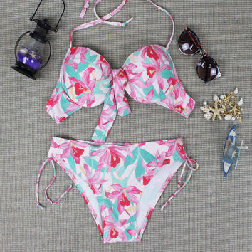 2016 Summer Womens Retro Floral Swimwear Swimsuit Cute Halter swimwear Set Gift