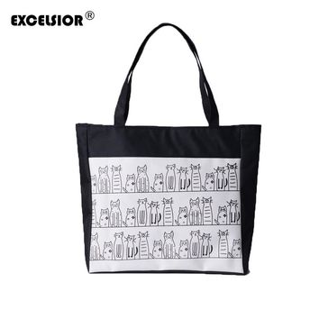 EXCELSIOR Female Canvas Cute Cats Pattern Tote Printing Women Fashion Handbag Canvas Beach Bags For Girls Bolsa Feminina cat bag
