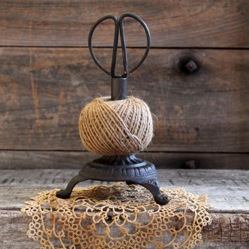 Cast Iron Twine Holder with Jute and Scissors Farmhouse