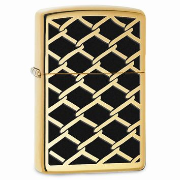 Zippo Chain Link Fence High Polish Brass Lighter
