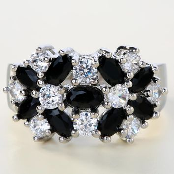 UFOORO classic flower silver filled rings black birthstone with AAA zirconia charming wedding jewelry promise ring for female