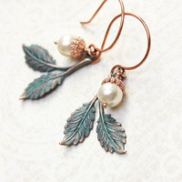 Patina Branch Earrings Rose Gold Drop Pearl Acorn Earrings Woodland Jewellery Nature Inspired Rustic Leaf Dangle Copper Winter Wedding