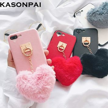 KASONPAI Luxury Winter Soft Warm Rabbit Fur Ball Heart Tassel Case Furry Hair Phone Back Cases For iphone 6 6s 7 7plus 8 plus