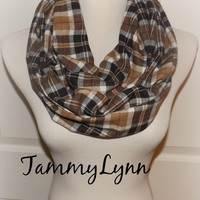 Brown Carmel Ivory Plaid Flannel Check Shirting Infinity Scarf Fall Winter Christmas Women's Accessories