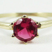Ruby Solitaire Ring 14k Yellow Gold July Birthstone Ring
