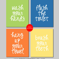 "Kids Bathroom Art Kids Bathroom Decor Print Bathroom Art Prints Printable Files Bathroom Decor Signs INSTANT DOWNLOAD 8""x10"" set of four"