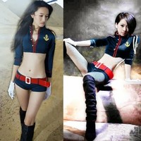 Women Sexy Sailor Uniform Costumes Tops Super Mini Shorts Cosplay Role-playing