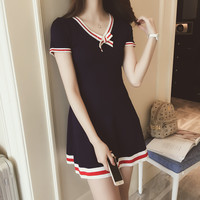 2017 New Preppy Style Dark Blue Knitting Dress Bow V-neck Short Sleeve Cute Dresses Preppy Student Uniforms Lolita Dresses