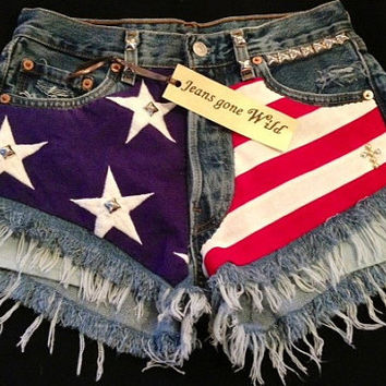 AMERICA High waist destroyed studded denim with super frayed shorts size Small