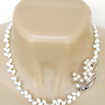 Short White Freshwater Pearl Necklace Handcrafted Vintage Silver Jewelry Adjustable