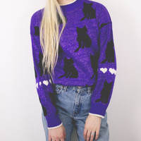 Vintage Sparkly Cat Sweater