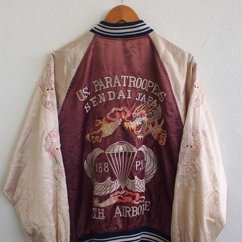 BIG SALE 25% SUKAJAN Japan Dragon Us Paratroopers Sendai Vintage 80's Embroidery Okinawa Satin Souvenir Jacket Size Xl
