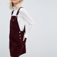 ASOS Cord Overall Dress in Oxblood at asos.com