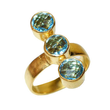 Unique Ring, Handmade Ring, Blue Topaz Ring, Gemstone Ring, Gold Plated Ring, Brass Ring, Cheap Jewelry, Fashion Ring, Gift Ideas For Her