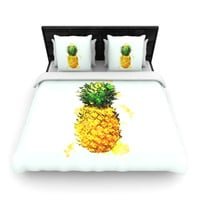 "Oriana Cordero ""Slice of Summer"" White Yellow Woven Duvet Cover"