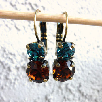 Swarovski crystal drop earrings, 2 stone blue and smoked topaz, not sabika but just as sparkly
