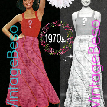 DIGITAL PATTERN • SKIRT Crochet Pattern • Ladies Spiraling Swirl Skirt • 1970s Vintage • PdF Pattern • Retro Long Skirt Unique Swirl Effect