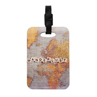 "Sylvia Cook ""Wanderlust Map"" World Decorative Luggage Tag"