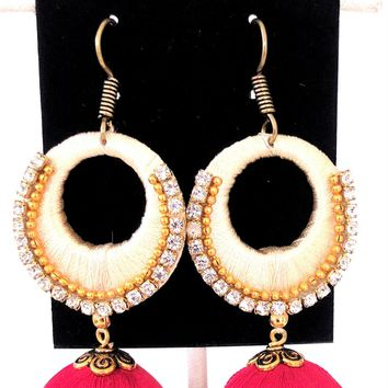 Silk Thread Dual Design Long Drop Earring