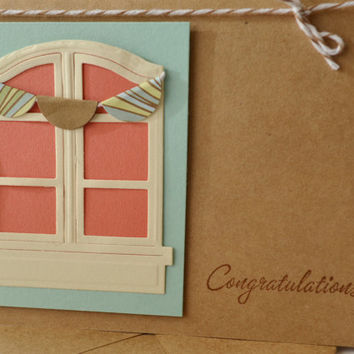 Congratulations New Home Card, Kraft Paper Card to Celebrate New House, Housewarming Card