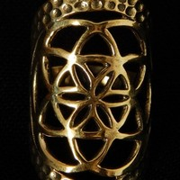 Seed of life Brass Ring ,Sacred geometry Ethnic Indian Ring