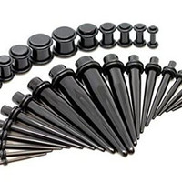 Crazypiercing Taper Kit with Plugs Black Taper Stretching Guages Kit with Black Acrylic Plug 30 PCS