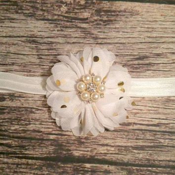 White and Gold Headband / Rhinestone Headband / Gold Polka Dot / Baby Headband / Toddler Headband / Infant Headband / Baby Bows / Hair Bows