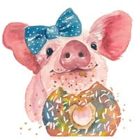 Pig Watercolor 8x10 Print - Sprinkle Donut, Food Art, Donut Watercolour